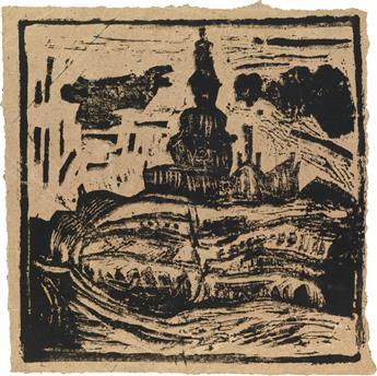 WILLIAM H. JOHNSON (1901 - 1970) Untitled (Bazaars behind Olso Domkirke).