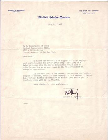 KENNEDY, ROBERT F. Typed Letter Signed, to the U.S. Department of Labors Central Immigration Office (Gentlemen), sending documents [