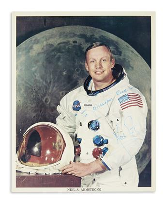 (ASTRONAUTS.) ARMSTRONG, NEIL. Photograph Signed and Inscribed, To William Rock--,