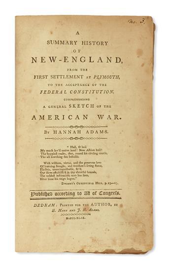 (AMERICAN REVOLUTION--HISTORY.) Adams, Hannah. A Summary History of New-England . . .