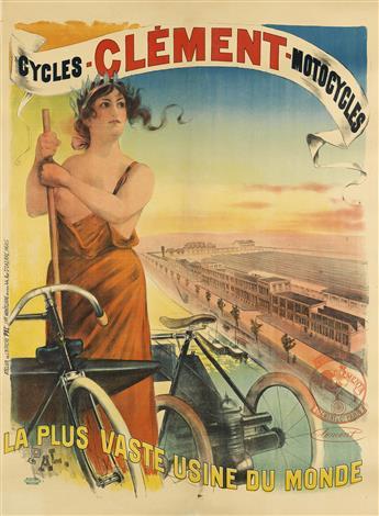 PAL (JEAN DE PALÉOLOGUE, 1860-1942). CYCLES - CLÉMENT - MOTOCYCLES. Circa 1895. 58x43 inches, 148x109 cm. Paul Dupont, Paris.