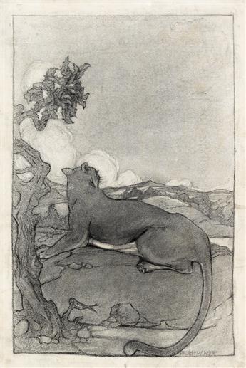 PAUL MANSHIP Two drawings of pumas.
