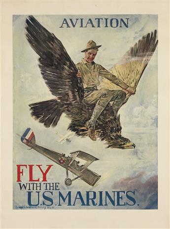 HOWARD CHANDLER CHRISTY (1873-1952). AVIATION / FLY WITH THE U.S. MARINES. 1920. 39x29 inches, 99x74 cm.