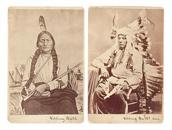 (AMERICAN INDIANS--PHOTOGRAPHS.) Goff, Orlando Scott; photographer. Cabinet card portraits of Sitting Bull and his son.