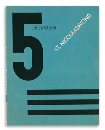 ADOLPHE MOURON CASSANDRE (1901-1968). ST. NICOLAASAVOND / 5 DECEMBER. Booklet. Circa 1930. 9x7 inches, 23x17 cm. [Nijgh & Van Ditmar, R