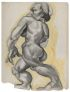 WHITE, CHARLES. Untitled, highly stylized pencil and gray tempera drawing,