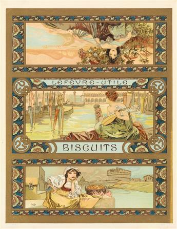 ALPHONSE MUCHA (1860-1939). LEFÈVRE - UTILE / BISCUITS. Biscuit tin label. Circa 1896. 11x8 inches, 28x22 cm.