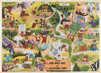 DESIGNER UNKNOWN. OFFICIAL YOGI BEAR MAP OF JELLYSTONE PARK. 1961. 20x28 inches, 52x73 cm.