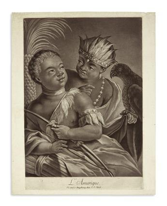 (AMERICAN INDIANS.) Haid, Johann Jakob; engraver. LAmerique.