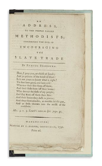 (SLAVERY AND ABOLITION.) Bradburn, Samuel. An Address to the People Called Methodists; Concerning the Evil of Encouraging