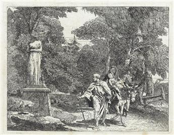 GIOVANNI D. TIEPOLO La Sacra Famiglia passa davanti ad una Statua la cui Testa si stacca e cade a Terra.