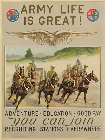 H.R. DAVIS (DATES UNKNOWN). ARMY LIFE IS GREAT! / YOU CAN JOIN. 25x18 inches, 63x47 cm. Engineer Reproduction Plant, U.S. Army, Washing
