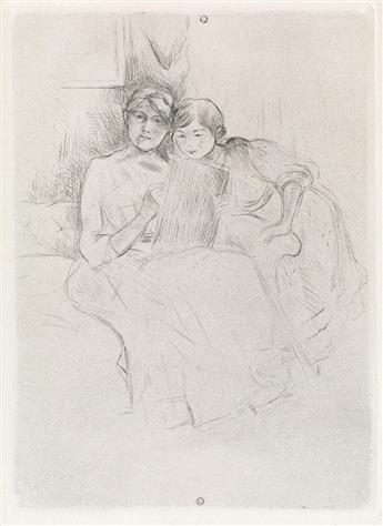BERTHE MORISOT Berthe Morisot dessinant, avec sa fille.