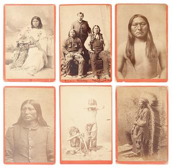 (AMERICAN INDIANS--PHOTOGRAPHS.) Baker & Johnston; photographers. Group of 6 cabinet cards of Arapaho subjects.