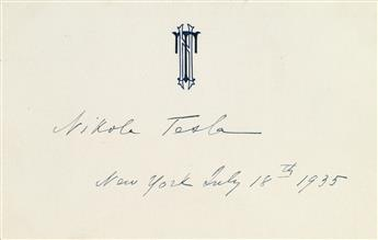 TESLA, NIKOLA. Signature and date, on his monogrammed correspondence card.