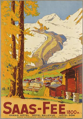 WILHELM FRIEDRICH BURGER (1882-1964). SAAS - FEE. 1925. 39x27 inches, 99x70 cm. Fiedler, La Chaux-de-Fonds.