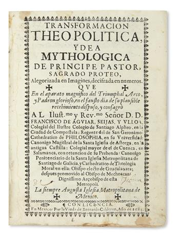 (MEXICAN IMPRINT--1682.) Bound volume of 7 early sermons.