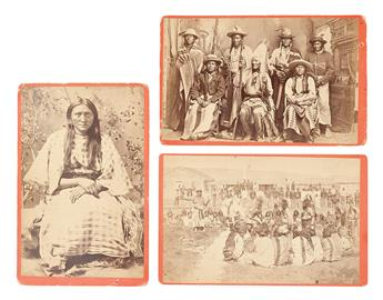 (AMERICAN INDIANS--PHOTOGRAPHS.) Baker & Johnston; photographers. Group of 3 cabinet card portraits of Shoshone subjects.
