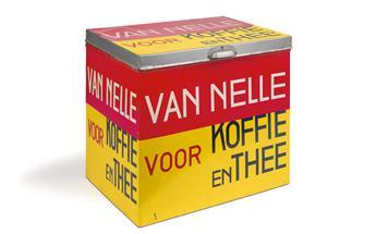JAC JONGERT (1883-1942). VAN NELLE VOOR KOFFIE EN THEE. Metal storage box. 1930. 14x16x11 inches, 38x42x28 cm.