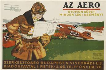 IMRE SPIEGEL (DATES UNKNOWN). AZ AERO. 1917. 25x37 inches, 64x94 cm. Lipot Lengyel, Budapest.