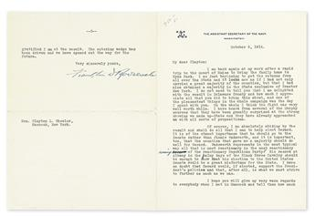 ROOSEVELT, FRANKLIN D. Typed Letter Signed, as Assistant Secretary of the Navy, with two holograph corrections, to Clayton L. Wheeler,