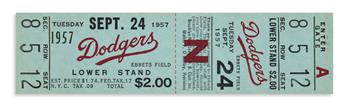 (SPORTS--BASEBALL.) Unused ticket for the last game at Brooklyns Ebbets Field.