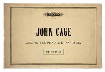 CAGE, JOHN. Concert for Piano and Orchestra for Elaine De Kooning.