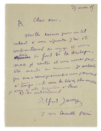 JARRY, ALFRED. Autograph Letter Signed, to Dear Friend, in French, in purple ink,