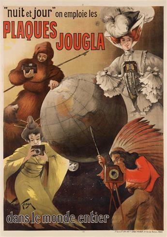 LOUIS TONYN (DATES UNKNOWN). PLAQUES JOUGLA / DANS LE MONDE ENTIER. Circa 1905. 54x38 inches, 137x97 cm. Minot, Paris.