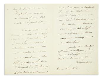 LAMARTINE, ALPHONSE DE. Autograph Letter Signed, Lamartine, to Dear and illustrious Colleague, in French,