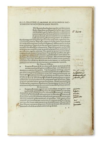 INCUNABULA  CICERO, MARCUS TULLIUS. Rhetorica ad C. Herennium.  1476