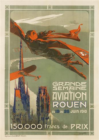 GEORGES VILLA (1883-1965). GRANDE SEMAINE DAVIATION ROUEN. 1910. 49x35 inches, 125x89 cm. Emile Wolf, Rouen.