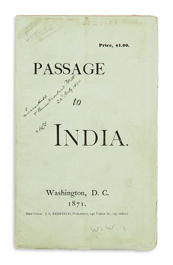 WHITMAN, WALT. Passage to India.
