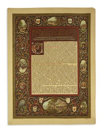 (DECLARATION OF INDEPENDENCE.) Leoni, Nestore; artist. A Declaration by the Representatives of the United States of America