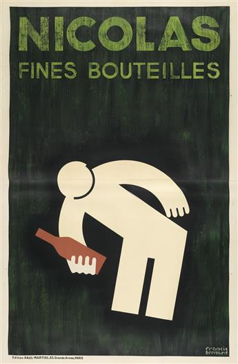 FRANCIS BERNARD (1900-1979). NICOLAS FINES BOUTEILLES. 1930. 89x59 inches, 226x150 cm. Paul Martial, Paris.