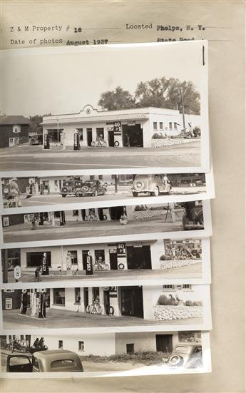 (GAS STATIONS--TEXACO) Abum with 320 photographs of Texaco gas stations located in upstate New York, with blueprints, leasing details,