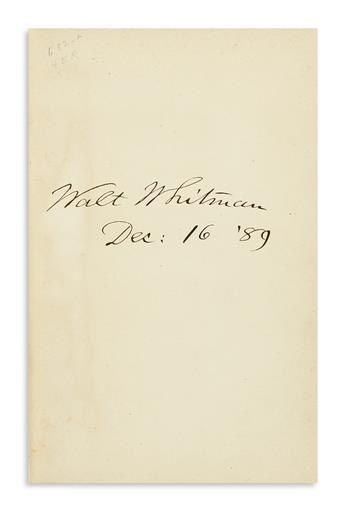 WHITMAN, WALT. Camdens Compliment. Ed. Horace L. Traubel. Signed and dated, on the front free endpaper.
