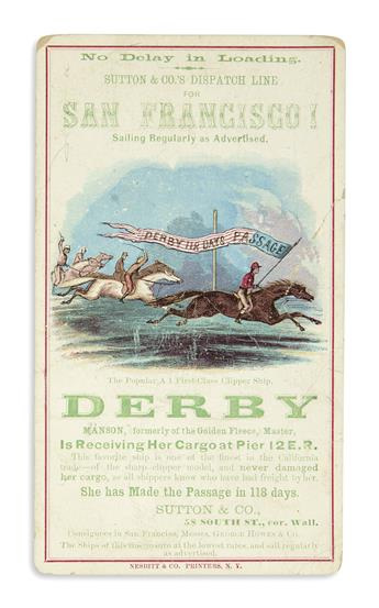 (CALIFORNIA.) Clipper ship card for the Derby.