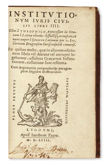 JUSTINIAN I, Emperor. Institutionum juris civilis libri IIII.  1554