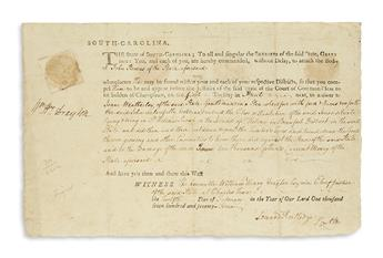 (AMERICAN REVOLUTION.) RUTLEDGE, EDWARD. Two Signatures, Edward Rutledge / P[laintif]fs Att[orne]y and Rutledge, on a partly-printe