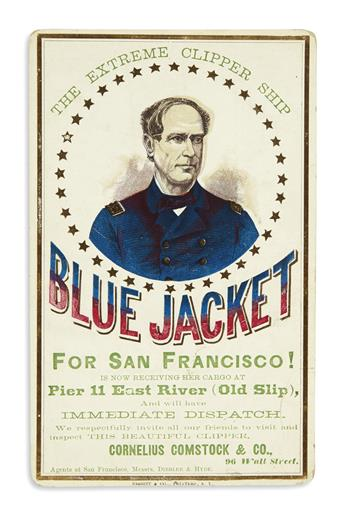 (CALIFORNIA.) Clipper ship card for the Blue Jacket.