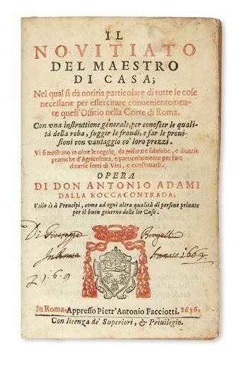 ADAMI, ANTONIO. Il Novitiato del Maestro di Casa.  1636