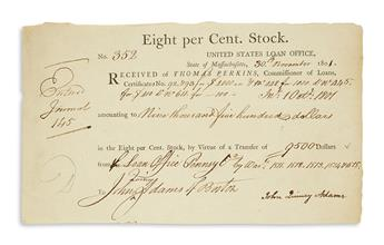 ADAMS, JOHN QUINCY. Partly-printed Document Signed, receipt for 5 United States Loan Certificates amounting to $9,500.