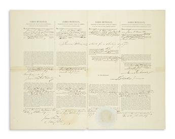 BUCHANAN, JAMES. Partly-printed Document Signed, as President, 4-langugage ships papers for the Ship Charles W. Morgan.