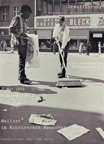 JOSEPH BEUYS (1921-1986). ICH DURCHSUCHE FELDCHARAKTER / MAIFEST IM KUNSTVEREIN HANNOVER. 1973. 31x23 inches, 80x59 cm.