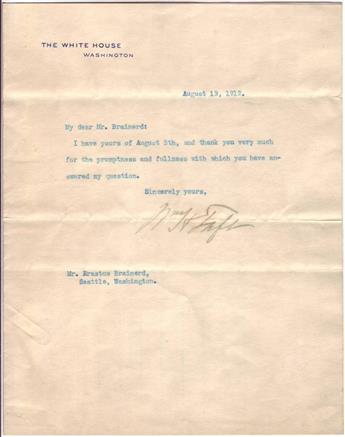TAFT, WILLIAM HOWARD. Typed Letter Signed, WHTaft, as President, to journalist and anti-prohibitionist Erastus Brainerd,