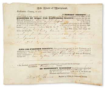 (SLAVERY AND ABOLITION.) MARYLAND. Manumission and emancipation certificate for Margaret Tillison.