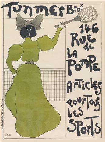 J.E. GLUCK (DATES UNKNOWN). TUNMER BROS. / ARTICLES POUR TOUS LES SPORTS. Circa 1900. 32x23 inches, 81x59 cm. Bourgerie & Cie, Paris.