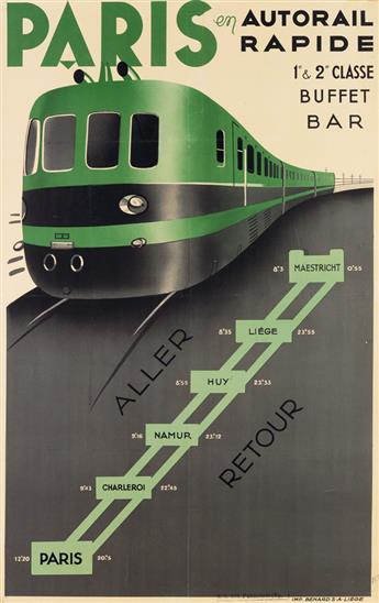 DESIGNER UNKNOWN. PARIS EN AUTORAIL RAPIDE. Circa 1937. 38x23 inches, 96x60 cm. Bénard, Liége.