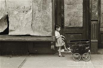 HELEN LEVITT (1913-2009) N.Y. (girl with empty baby carriage) * N.Y. (children walking with bubbles).